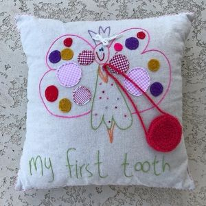 MY FIRST TOOTH Tooth Fairy Pouch Pillow Keepsake